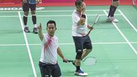 Ekspresi Hafizh Briliansyah Prawiranegara atlet bulutangkis Indonesia usai lolos ke babak final di Asian Paragames 2018  di Istora Senayan, Minggu (7/10/2018).  (Bola.com/Peksi Cahyo)