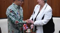 Wakil Menteri Luar Negeri Mahendra Siregar bertemu dengan Menteri Inggris untuk Asia Pasifik Heather Wheeler pada Selasa, 14 Januari 2020. (Foto: Kemlu RI)