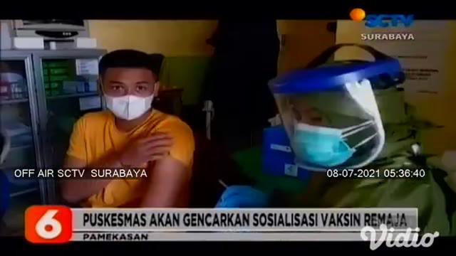 Vaksinasi Covid-19 gratis yang dilaksanakan di Puskesmas Teja, Kabupaten Pamekasan, hanya diikuti oleh sejumlah remaja. Meski terjadi antrean, vaksinasi untuk usia 12-17 tahun ini tidak seramai vaksinasi orang dewasa.
