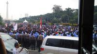 Demo sopir taksi dan angkutan umum. (Twitter TMC Polda Metro Jaya)