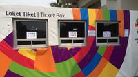 Loket cabor pencak silat Asian Games 2018 di Taman Mini Indonesia Indah. (Liputan6.com/Muhammad Adiyaksa)