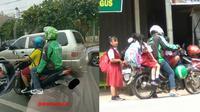 Kelakuan Kocak Anak Sekolah saat Naik Ojek Online  (Sumber: Instagram/