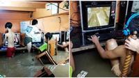 Viral bocah tetap asyik main game padahal sedang banjir dan diterjang badai. (Sumber: Metro UK)