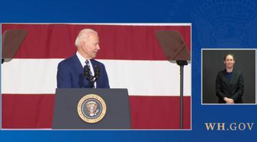 Presiden AS Joe Biden di pangkalan militer Virginia.