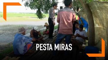 Belasan orang terciduk minum miras jenis tuak pada siang hari bulan Ramadan di Tuban, Jawa Timur. Para pelaku konsumsi miras di sepanjang warung pinggiran sawah.