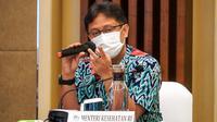 Menteri Kesehatan RI Budi Gunadi Sadikin dalam Rapat Kerja Kementerian Kesehatan bersama Komisi Pemilihan Umum tentang Data Pemilih Dalam Rangka Mendukung Program Vaksinasi COVID-19 di Jakarta pada Sabtu, 30 Januari 2021. (Dok Kementerian Kesehatan RI)