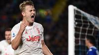 3. Matthijs de Ligt (70 juta euro) - Matthijs de Ligt menjadi tembok pertahanan tangguh yang dimiliki Juventus saat ini. Saat ini, Matthijs de Ligt memiliki value transfer seharga 72 juta euro. (AFP/Marco Bertorello)