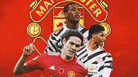 Manchester United - Edinson Cavani, Marcus Rashford, Anthony Martial (Bola.com/Adreanus Titus)