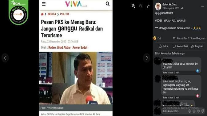 Gambar Tangkapan Layar Kabar PKS Berpesan kepada Menag Baru Agar Jangan Ganggu Radikal dan Terorisme (sumber: Facebook).