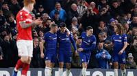 Chelsea berhasil meraih kemenangan 2-0 atas Nottingham Forest pada laga putaran ketiga Piala FA di Stamford Bridge, Sabtu (5/1/2019). (AFP/Adrian Dennis)