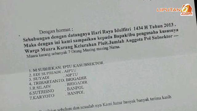 Kejanggalan Surat Minta Thr Pospol Pademangan Versi Polisi News Liputan6 Com