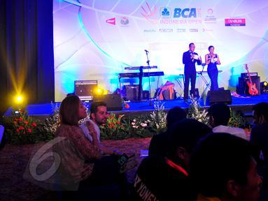 Suasana acara welcome dinner BCA Indonesia Open Superseries Premier 2015 yang digelar di Golden Ballroom Hotel Sultan, Jakarta, Senin (1/6/2015). Indonesia Open akan berlangsung di Istora Gelora Bung Karno, 2-7 Juni. (Liputan6.com/Yoppy Renato)