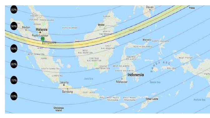 Jalur yang dilalui Gerhana Matahari Cincin di Indonesia pada 26 Desember 2019. (Gambar: Gerhanaindonesia.id)