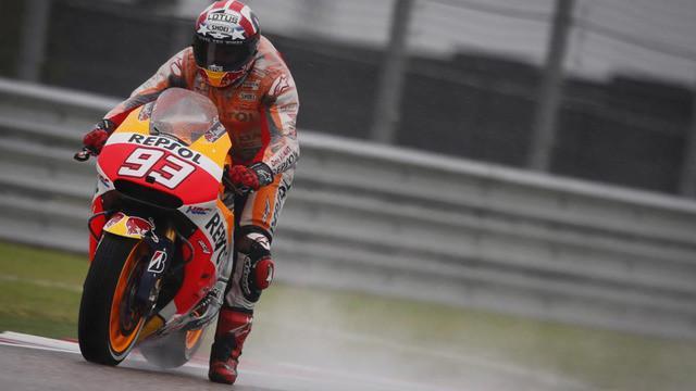 Marc Marquez pebalap MotoGP datim Repssol Honda menjadi pebalap yang tercepat walaupun sempat terjatuh di sesei Free Practise pada MotoGP Austin 2016, Sabtu (9/4/2016).