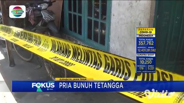 Gara-gara cemburu buta, Achmad Suhandi, warga Jalan Wonosari Wetan Gang 2, Surabaya, dibacok tetangganya sendiri, Jumat (16/10). Korban tewas bersimbah darah di depan rumahnya. Pelaku melarikan diri ke Pulau Madura.