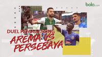 Duel pemain asing Arema FC vs Persebaya Surabaya.. (Bola.com/Dody Iryawan)