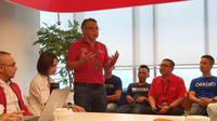 General Manager Corporate Social Responsibility Telkomsel, Tubagus Husniyullah, berbicara mengenai ambisi The NextDev Telkomsel jadi startup agregator terbesar di Indonesia. (Liputan6.com/ Agustin Setyo Wardani)