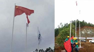 Bendera Tiongkok Berkibar di Halmahera Selatan, Netizen Geram