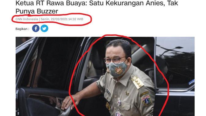 Penelusursan klaim judul artikel CNN Indonesia ketua RT Rawa Buaya menyebut kekurangan Anies tak punya otak