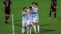 Timnas Argentina menang 3-1 atas Venezuela pada laga ketujuh kualifikasi Piala Dunia 2022 zona CONMEBOL di Estadio Olimpico de la UCV, Jumat (3/9/2021) pagi WIB. (AFP/POOL/Miguel Gutierrez)