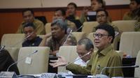 Menteri Dalam Negeri Tjahjo Kumolo jelaskan Evaluasi Dukungan dan Fasilitasi  Pemerintah dan Pemerintah Daerah Pada Pemilu 2019 dalam rapat kerja bersama Komite 1 DPD RI.