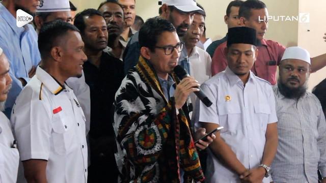 Cawapres Sandiaga Uno menemui pendukungnya di Banda Aceh. Sandi berjanji akan membuka lapangan pekerjaan yang luas jika terpilih menjadi Wakil Presiden.