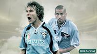Cover Skuat Lazio musim 1999-2000: Pavel Nedved dan Juan Sebastian Veron. (Bola.com/Dody Iryawan)