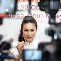 Sandra Dewi hadir dalam Perayaan 65 Tahun CIMB Niaga di XXI Lounge Plaza Senayan, Jakarta, Selasa (4/2/2020). (Daniel Kampua/Fimela.com)
