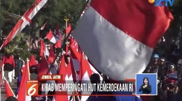 Kibaran bendera merah putih memenuhi sepanjang Jalan Bengawan Solo, Jember, memperingati kemerdekaan RI ke-73.