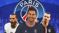 PSG - Dani Alves, Lionel Messi, Zlatan Ibrahimovic (Bola.com/Adreanus Titus)