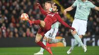 Aksi Mohamed Salah dalam laga Liverpool melawan Bayern Munchen. (AFP/Christof Stache)