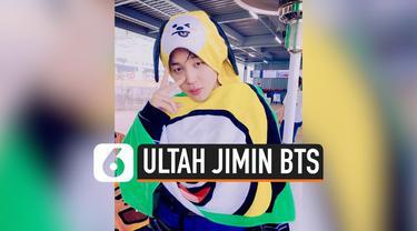 BTS memberikan kejutan untuk Jimin yang tengah berulang tahun ke-25. Kejutan diberikan saat konser bertajuk Speak Yourself di Riyadh, Arab Saudi, Jumat (11/10/2019)