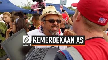 Sebuah insiden adu mulut terjadi antara pendukung dan warga anti Presiden Donald Trump. Kejadian ini berlangsung di perayaan Hari Kemerdekaan AS.