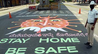 Penampakan Grafiti Virus Corona untuk Tingkatkan Kesadaran Masyarakat India