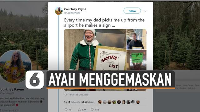 Poster unik selalu dibawa ayah ini saat sambut putrinya di bandara. Pemilik Twitter Courtney Payne membagikan kisahnya.