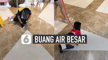 Beredar video anjing peliharaan buang air besar di lantai sebuah mall.