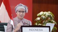 Menteri Luar Negeri Indonesia, Retno Marsudi saat menghadiri press briefing virtual yang digelar oleh Kemlu RI pada Sabtu (12/9/2020).( Photo credit: Kementerian Luar Negeri RI)