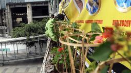 Dinas Kehutanan Provinsi DKI Jakarta menata tanaman yang dipasang di Jembatan Penyeberangan Orang (JPO) Benhil, Jakarta, Sabtu (24/8/2019). Penataan tersebut sebagai bentuk penghijauan dan mempercantik tata Kota Jakarta. (Liputan6.com/JohanTallo)