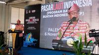 Menteri KKP Edhy Prabowo saat menyampaikan kata sambutan dalam peresmian Pasar Ikan Modern (PIM) Palembang di awal bulan November 2020 lalu (Liputan6.com / Nefri Inge)