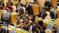 Kegembiraan delegasi Indonesia usai terpilihnya RI menjadi anggota Dewan HAM PBB dalam agenda Sidang Majelis Umum PBB New York pada 17 Oktober 2019 (sumber: Kemlu RI)