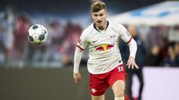 Timo Werner (RB Leipzig) - Werner berada diurutan kedua top skor sementara Bundesliga musim 2019/20. Penyerang 24 tahun ini telah mencetak 21 gol dari 25 laganya bersama Leipzig musim ini. (AFP/Odd Andersen)