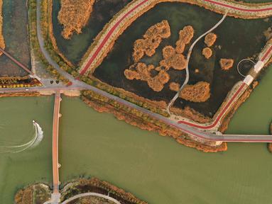 Foto dari udara yang diabadikan pada 18 Oktober 2020 ini menunjukkan pemandangan di tempat wisata Danau Shahu di Wilayah Pingluo, Shizuishan, Daerah Otonom Etnis Hui Ningxia, China barat laut. (Xinhua/Wang Peng)