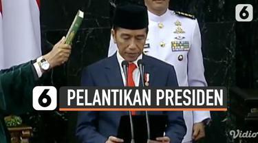 Joko Widodo dan Ma'ruf Amin membacakan sumpah jabatan Presiden dan Wakil Presiden RI periode 2019-2024. Mulai hari ini, keduanya resmi menjadi Presiden dan Wakil Presiden akan menjalankan pemerintahan lima tahun ke depan.