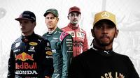 Lewis Hamilton, Max Verstappen, Charles Leclerc dan Sebastian Vettel. (Bola.com/Dody Iryawan)