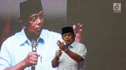 Ketua BPN Prabowo Subianto-Sandiaga Uno, Djoko Santoso saat memberikan pidato pada acara Syukuran dan Munajat Kemenangan Prabowo-Sandi di Padepokan Pencak Silat TMII, Rabu (24/4). (Liputan6.com/Herman Zakharia)