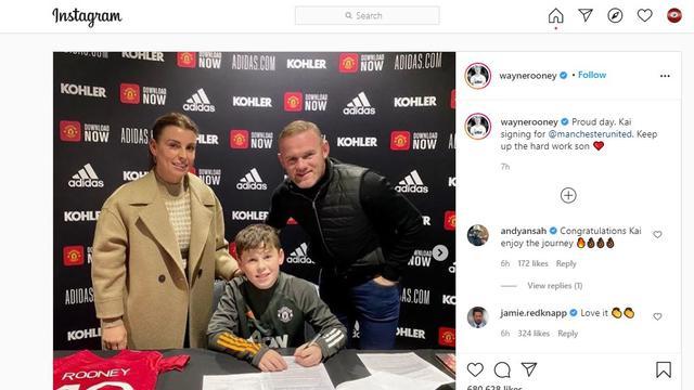 Kai Rooney, putra Wayne Rooney menandatangani kontrak dengan Manchester United atau MU