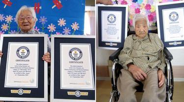 Pasangan kembar tertua tercatat di Jepang dengan usia 107 tahun.
