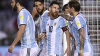 Selebrasi Lionel Messi usai menjebol gawang Argentina. (AP Photo/Gustavo Garello)