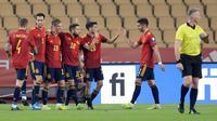 Timnas Spanyol meraih kemenangan 3-1 atas Kosovo pada laga ketiga Grup B kualifikasi Piala Dunia 2022 zona Eropa di Estadio de La Cartuja, Kamis (1/4/2021) dini hari WIB. (AFP/CRISTINA QUICLER)