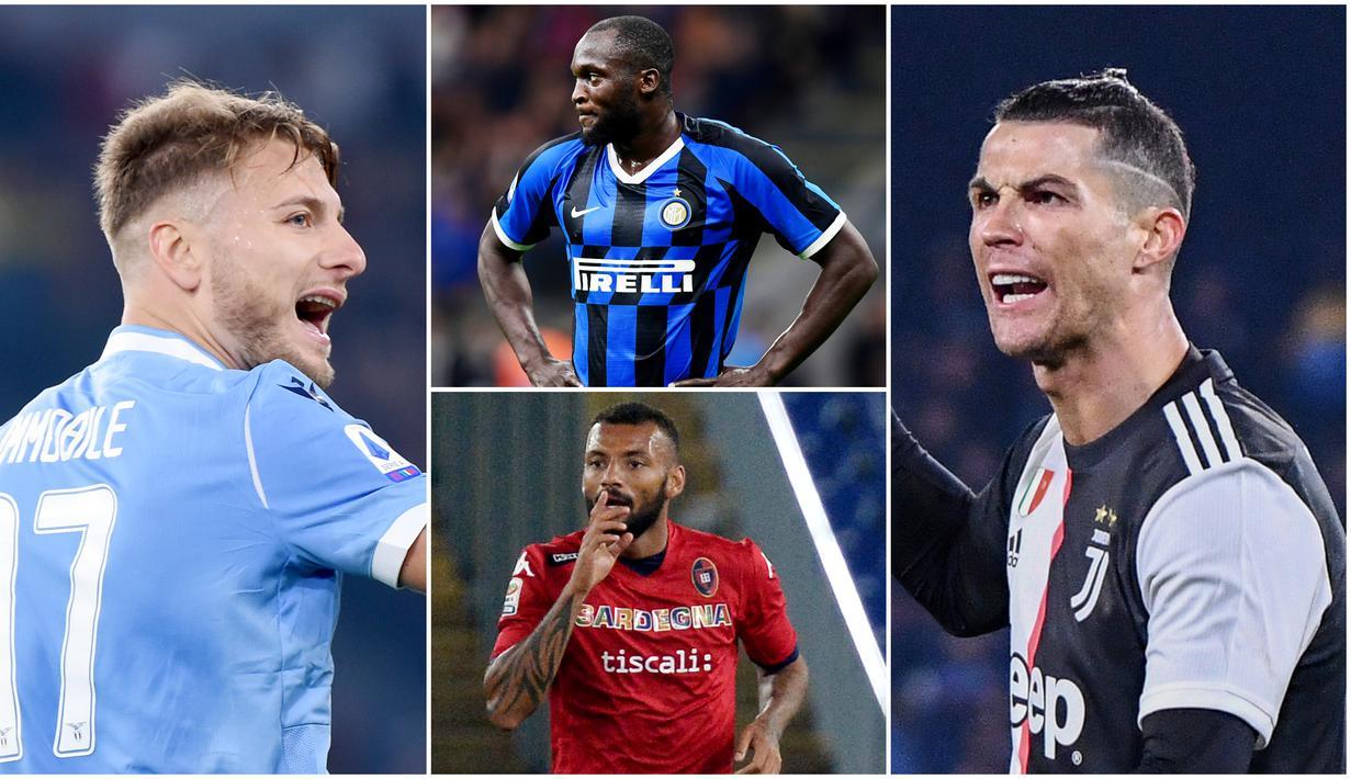 Berikut ini daftar top scorer sementara Serie A pekan ke 22. Bomber Lazio, Ciro Immobile, di posisi pertama dengan 25 gol, sementara bintang Juventus, Cristiano Ronaldo, di urutan ke dua dengan 19 gol. (Foto Kolase AFP)